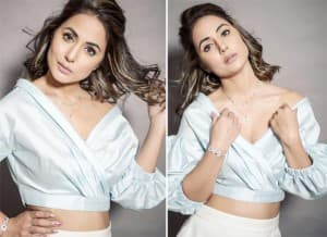 Bigg Boss 14: Toofani Senior Hina Khan Looks Like a Queen in a Sky-Blue Off Shoulder Top and Ivory Faux Leather Skirt