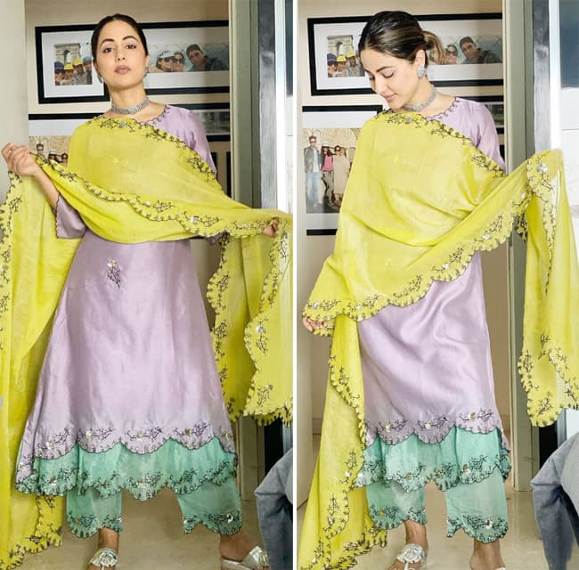 Hina Khan looked like a vision in a mint green salwar suit