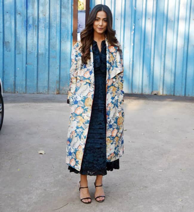 Hina Khan Looks Breathtaking in Royal Blue Gown And Floral White Coat