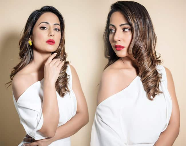 Hina Khan Looks Gorgeous And Glamorous in White Body fitting Dress And Floral Heels