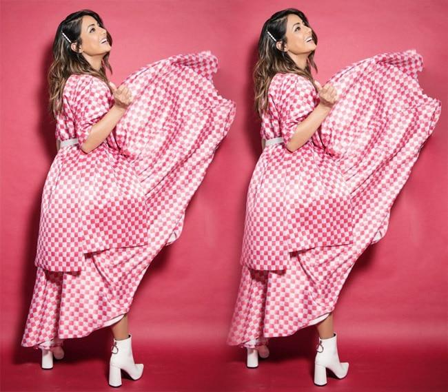 Hina Khan Looks Stunning in Pink white Checkered Dress