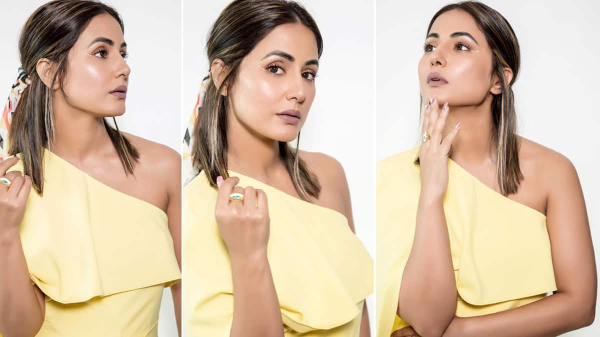 Hina Khan Looks Stunning in Yellow Dress And Perfect Makeup