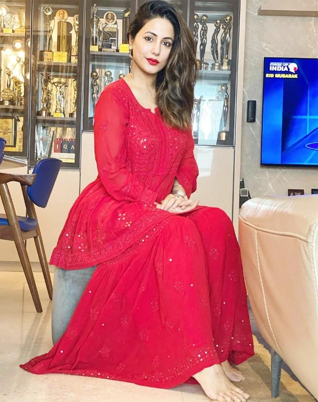 Hina Khan says Eid Mubarak with her red look