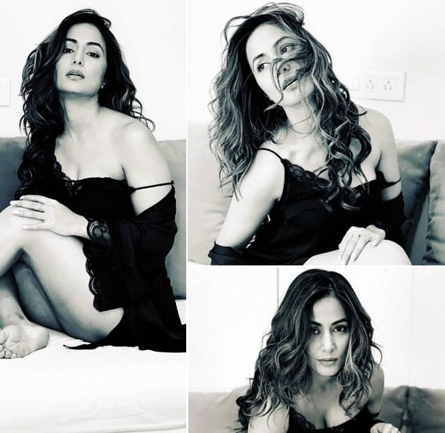 Hina Khan Sets The Temperature Soaring in Sexy Black Lingerie