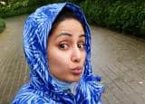 Hina Khan Looks Cute as She Steps Out of House For Rainy Workout in Blue Raincoat