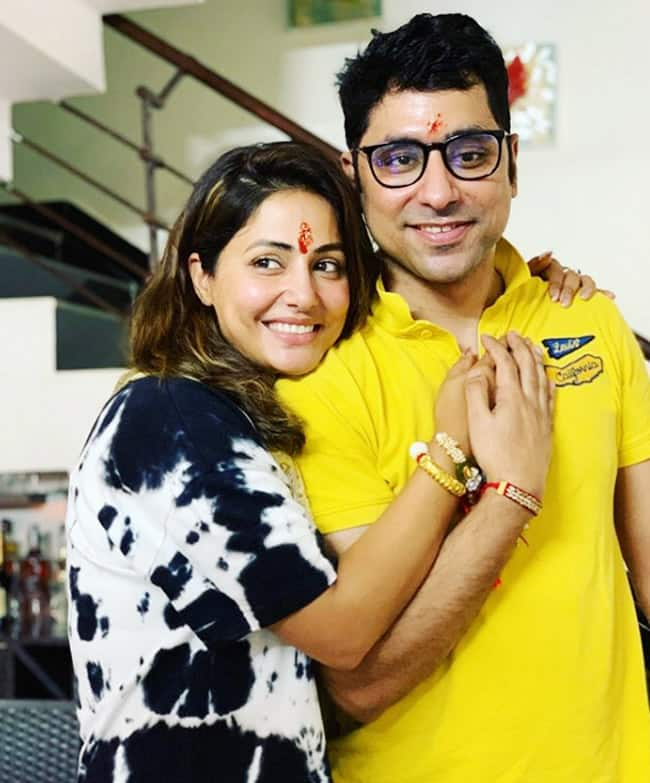 Hina Khan Ties Rakhi on Her Brother Aamir Khan s Wrist  Shares Adorable Pictures