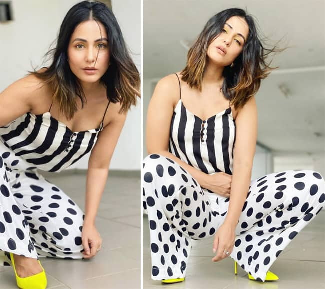 Hina Khan Rocks Print-on-Print And Wears Stripes With Polka-Dots in Latest  Pictures