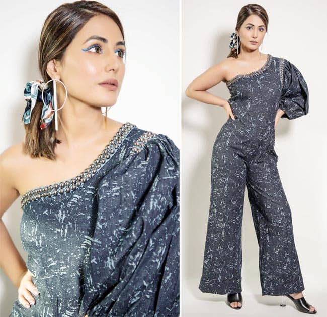 Hina Khan wore a grey jumpsuit for her appearance in Bigg Boss 14
