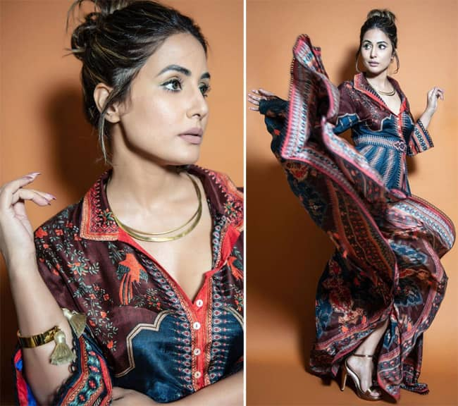 Hina Khan wore a printed silk shirt dress with a button front and waist closure