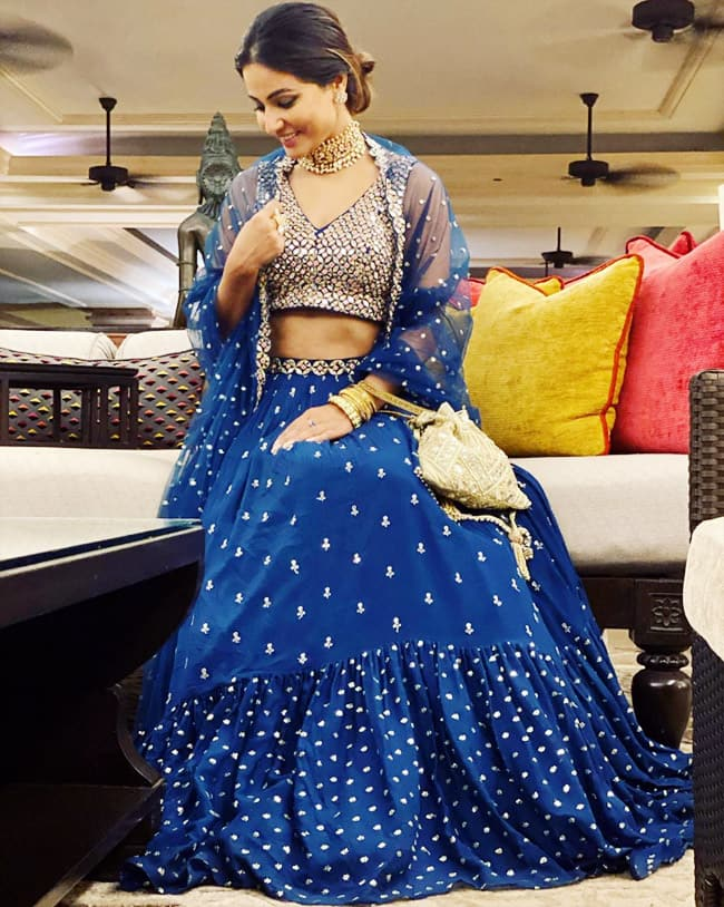 Hina Khan s blue lehenga is gorgeous but her choker takes the thunder away | Hina Khan is Having Shaadi Wali Vibe This Season, Wears Electric Blue Lehenga | Celebs Photo Gallery |