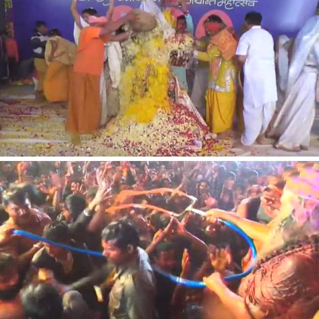 Holi celebrations with flowers begin in Mathura