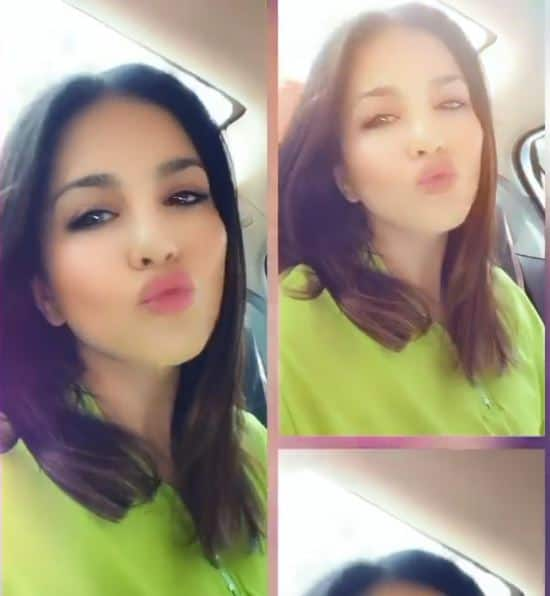 Hot Bollywood actor Sunny Leone blows kisses to her fans