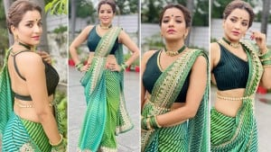 Bhojpuri Sizzler Monalisa Flaunts Her Perfect Curves In Sexy Green Saree And Kamarbandh