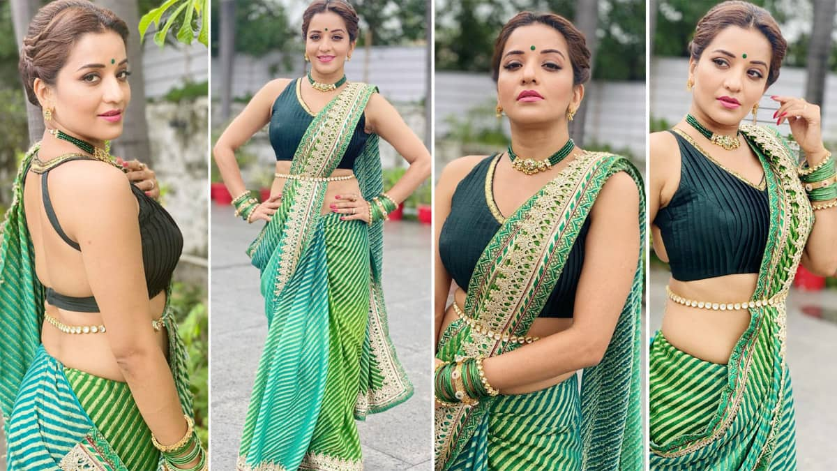 Hot Photos  Bhojpuri Sizzler Monalisa Flaunts Her Perfect Curves In Sexy Green Saree And Kamarbandh