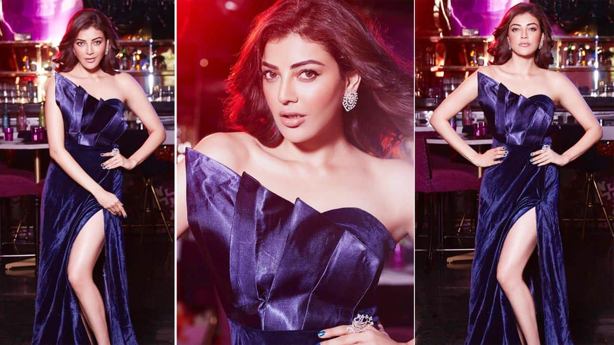 Hot Photos  Kajal Aggarwal Sets Temperature Soaring In Sexy Velvet Thigh High Slit Dress