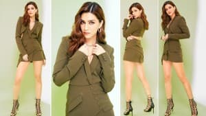 Kriti Sanon Looks Sultry in Olive Green Maud Blazer Dress For The Promotions of Hum Do Humare Do| See Pics