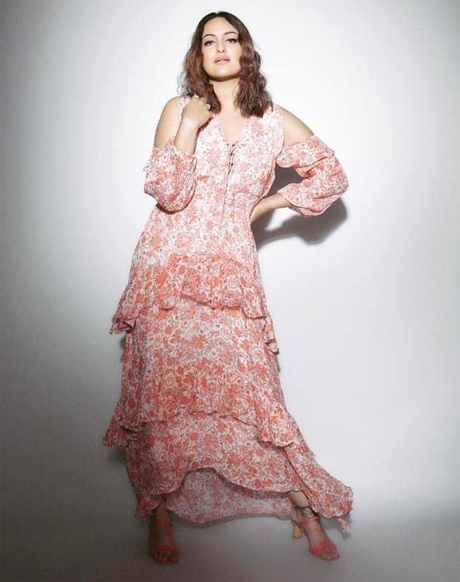 Hot Photos  Sonakshi Sinha Looks Chic in a Pink Floral Dress