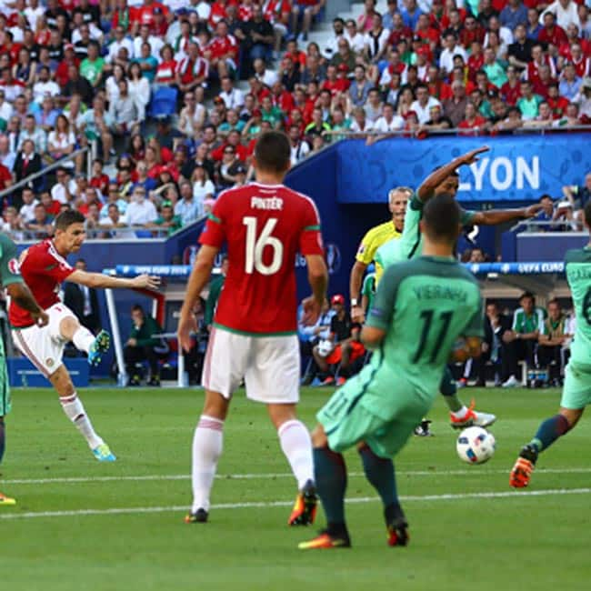 Hungary   s Zoltan Gera scores the opening goal against Portugal in UEFA EURO 2016