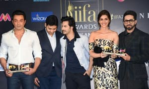 Rekha, Kriti Sanon, Bobby Deol And Varun Dhawan Grace IIFA 2018 Press Meet