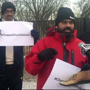 Indian-Americans donate used chappals during 'Chappal Chor Pakistan' protest in Washington