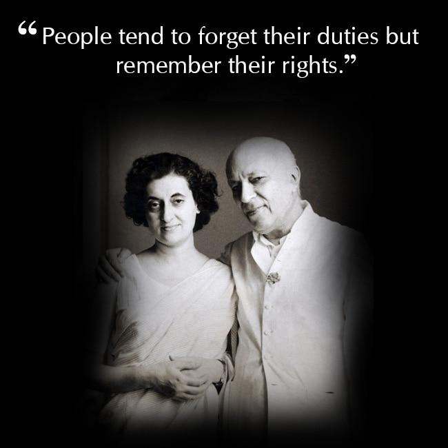 Indira Gandhi on performing duties