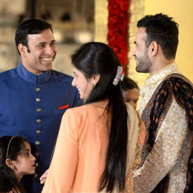 Irfan Pathan and VVS Laxman clicked with his family during reception party