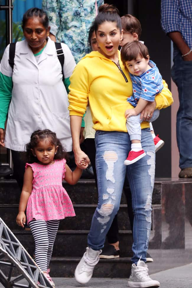 Is Sunny Leone holding Asher or Noah
