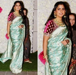 Isha Ambani Wears a Sabyasachi Saree at Ambani's Diwali Bash And Looks Absolutely Radiant