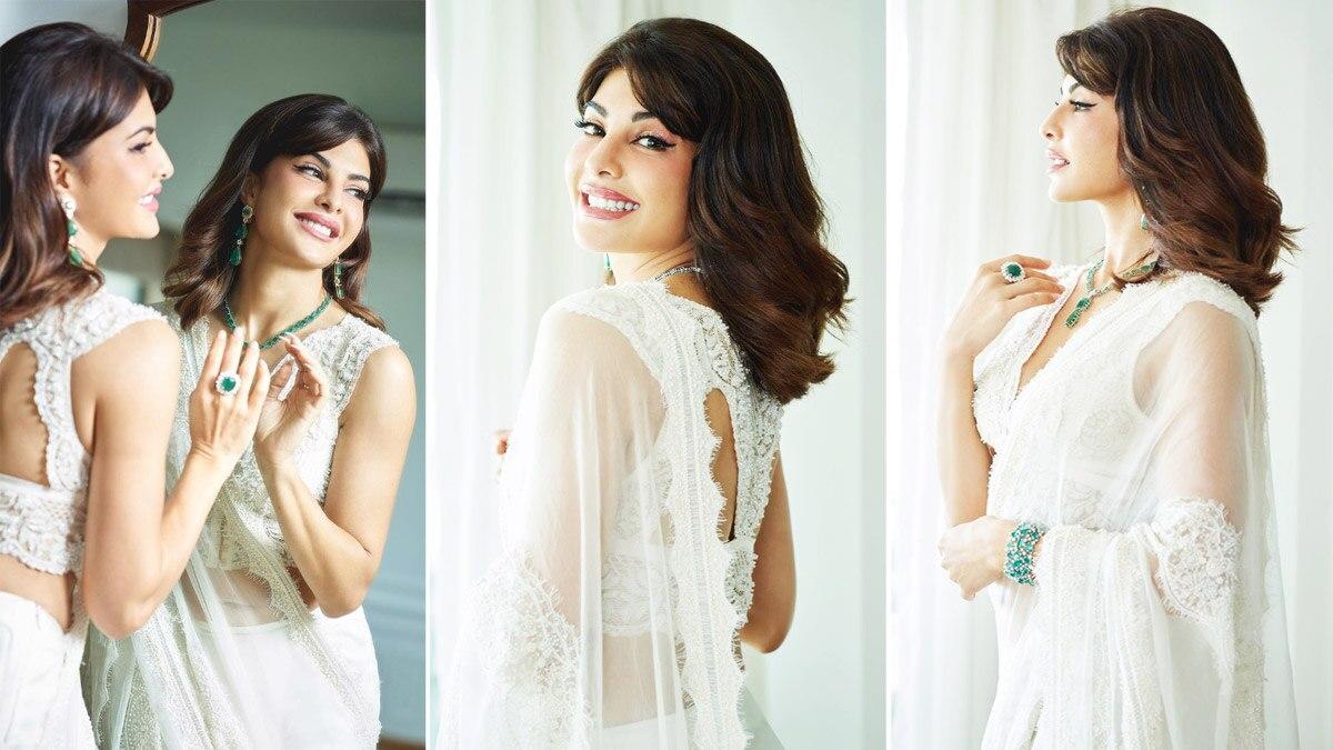 Jacqueline Fernandez spreads vintage charm in her white saree