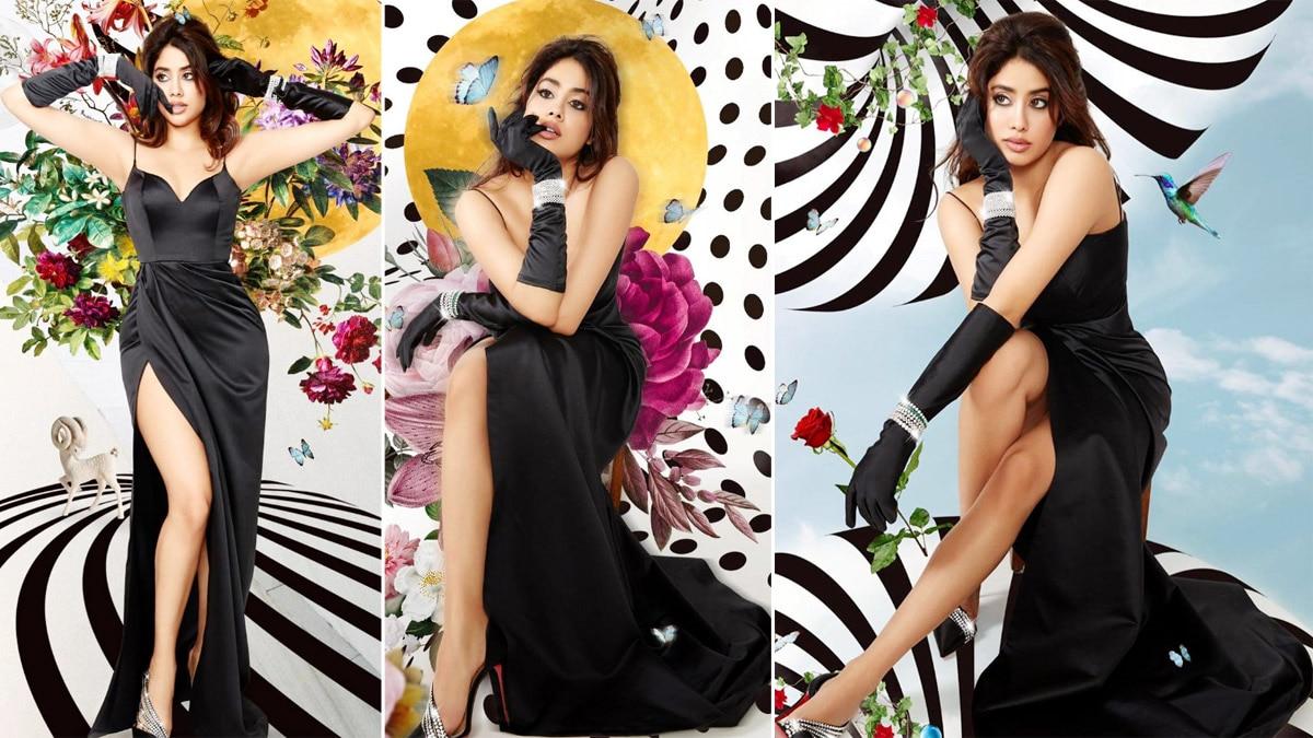 Janhvi Kapoor is here fade away mid week blues in hot high slit black dress