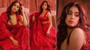 Janhvi Kapoor Sparkles Hotness in a Red Bridal Lehenga by Manish Malhotra   See Pics