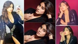 Janhvi Kapoor Sets Hotness Goals in a Shimmery Black Plunging Neckline Bodycon - PHOTOS