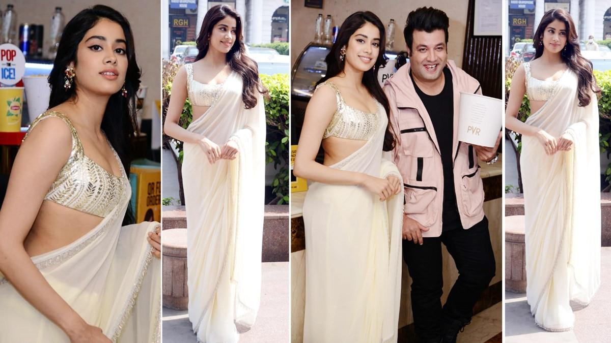 Janhvi Kapoor wears a sheer white saree while promoting Roohi
