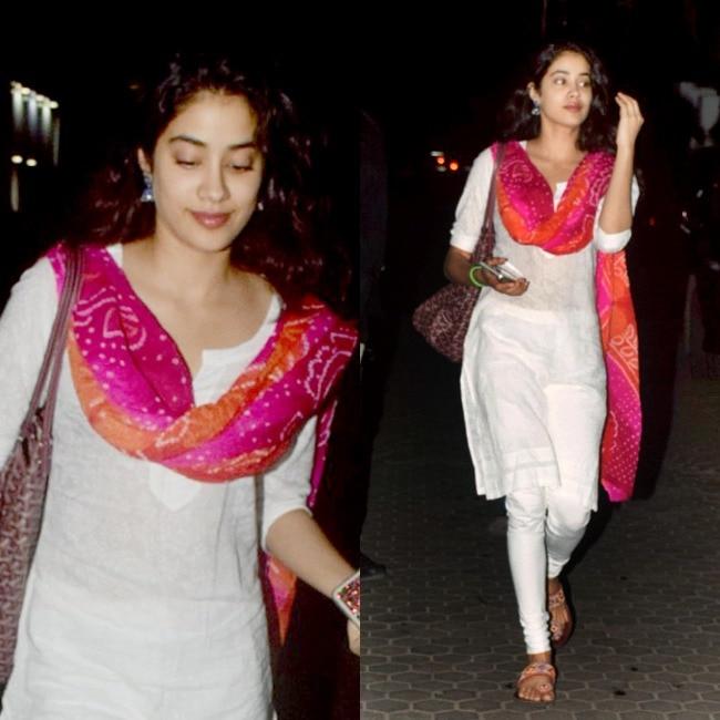 Jhanvi in white salwar suit