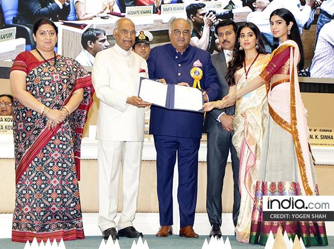 Jhanvi  Khushi and Boney Kapoor receiving National Film Awards 2018