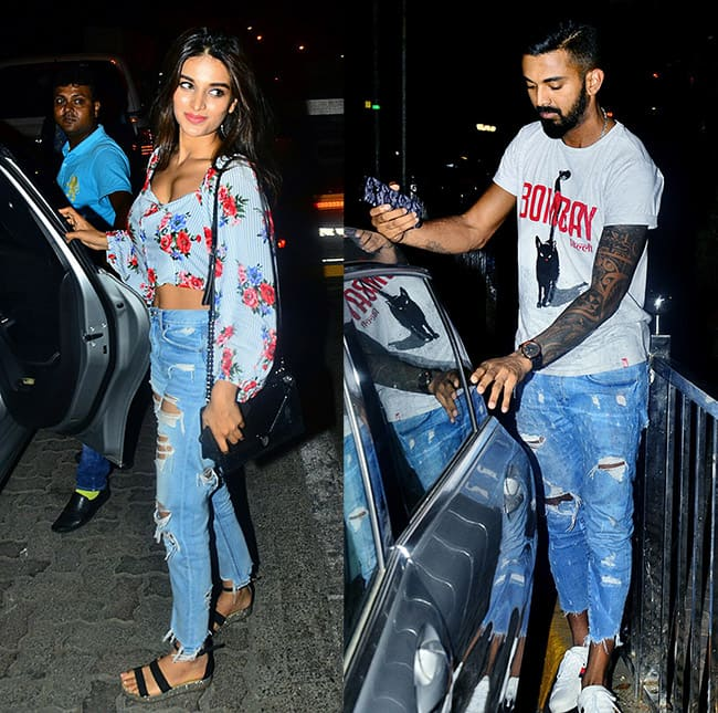 K L Rahul and Nidhi Agerwal spotted at a cafe in Mumbai