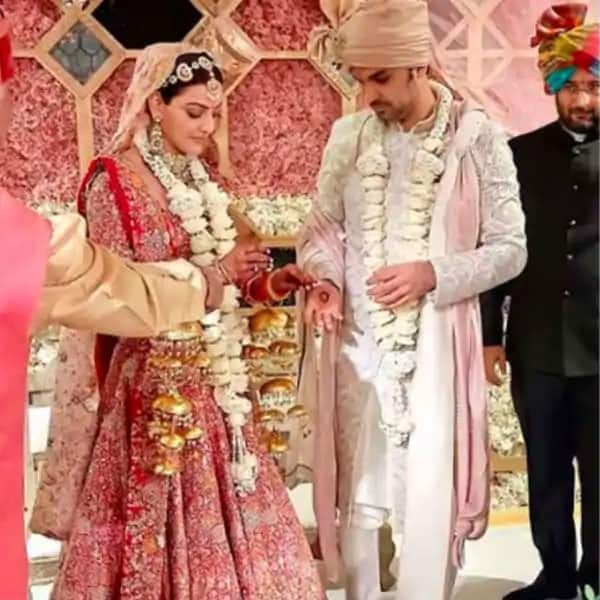 Kajal Aggarwal Shares Official Wedding Pictures  Looks Graceful in Anamika Khanna Red Pink Bridal Lehenga