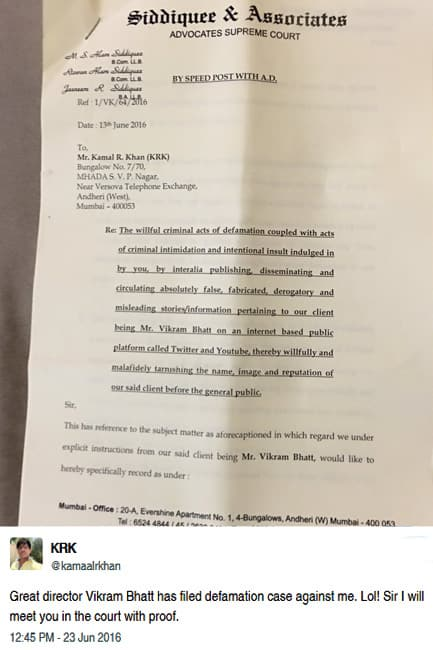 Kamaal R Khan shared his legal notice sent by Vikram Bhatt on Twitter