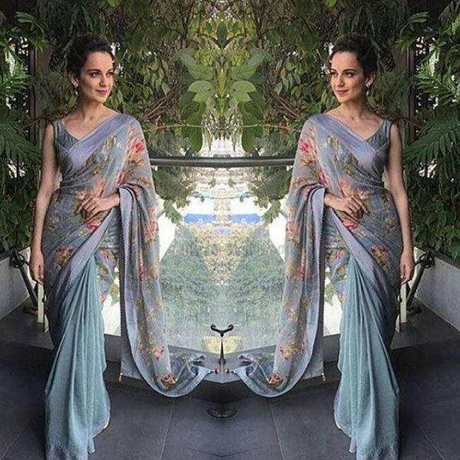 Kangana Ranaut in floral print sari