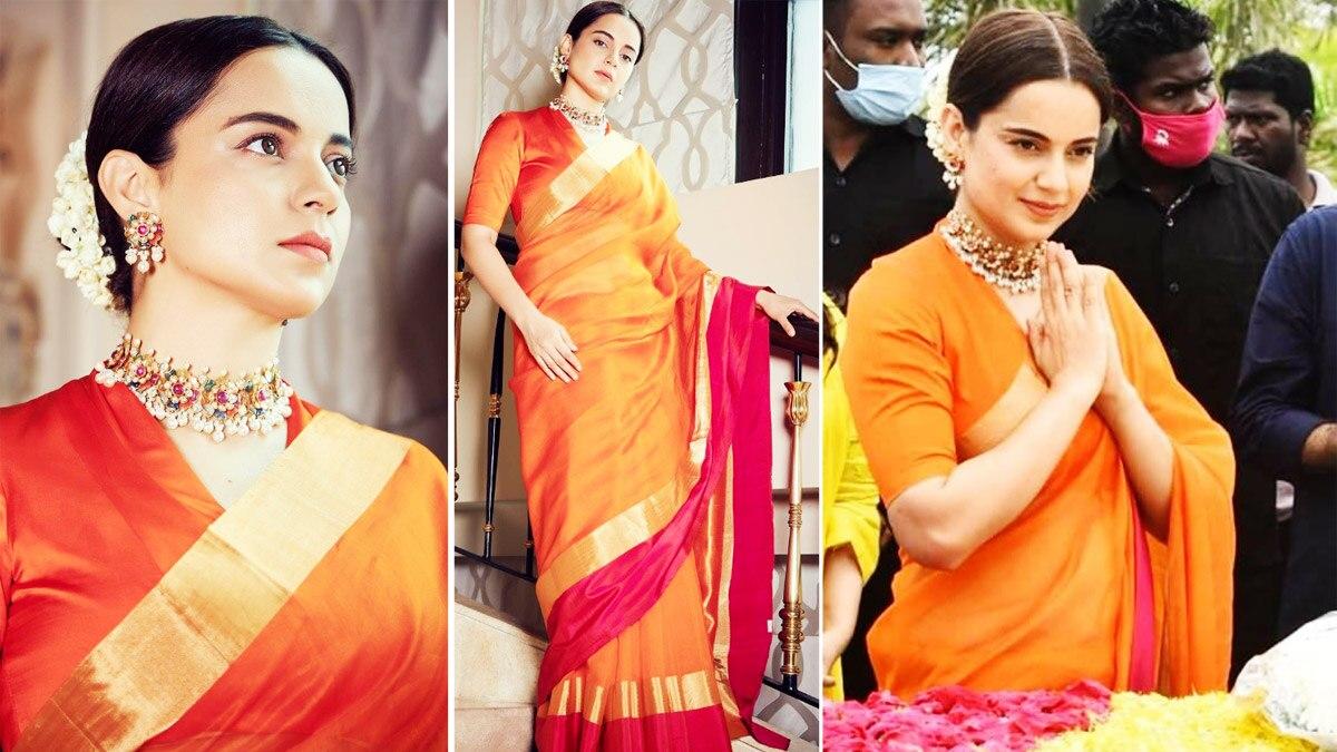 Kangana Ranaut looks extremely graceful in her bright orange silk saree