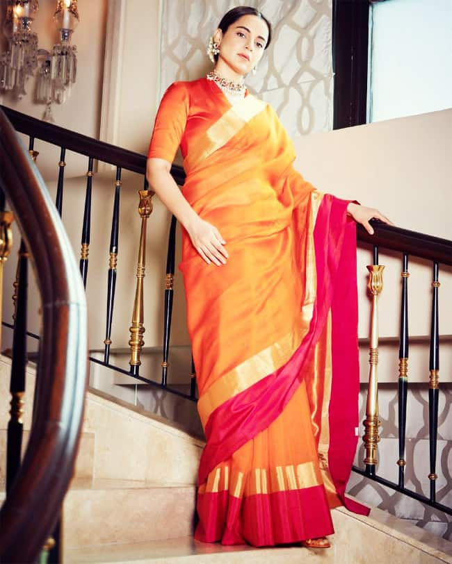 Kangana Ranaut opts for a vintage look in silk saree and gajra with statement jewellery