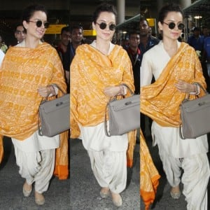 Kangana Ranaut Keeps it Simple Yet Stylish in an Off-White Salwar Suit And Saffron Dupatta; See Latest Pics