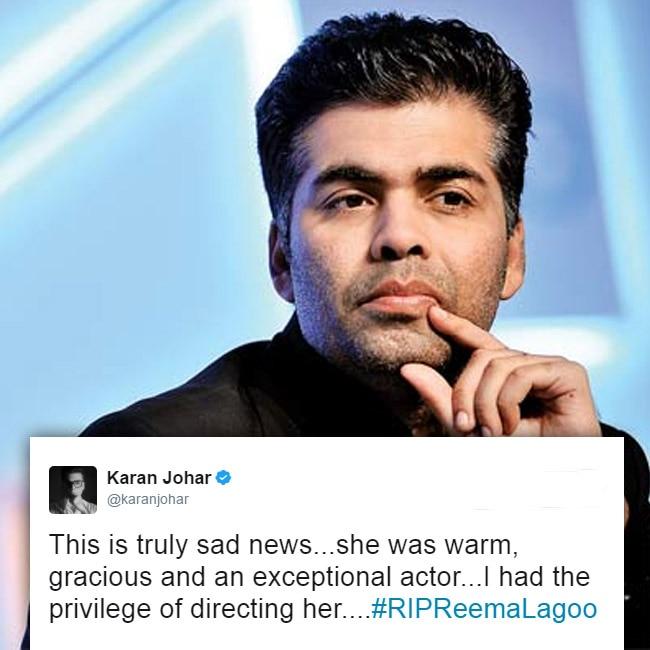 Karan Johar tweets to mourn the death of Reema Lagoo