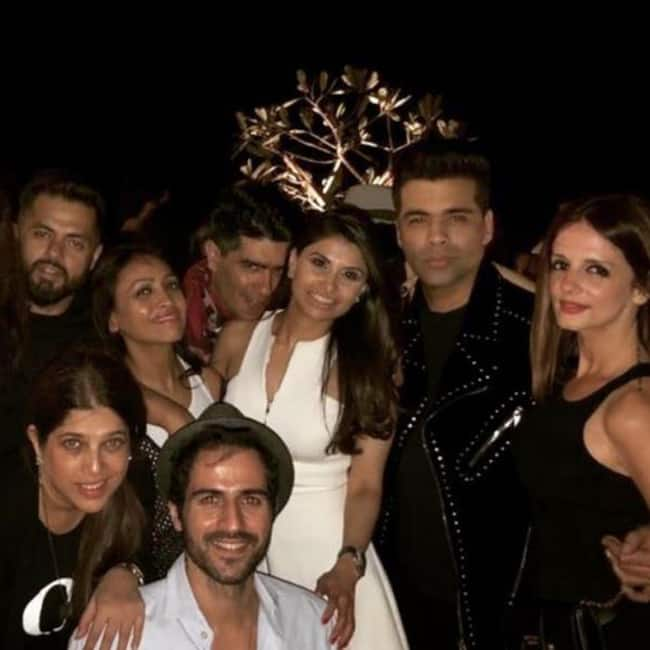 Karan Johar with his single gang at his residence