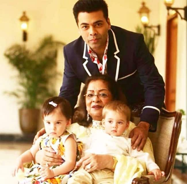 Karan Johar with mother Hiroo Johar and kids Yash and Roohi