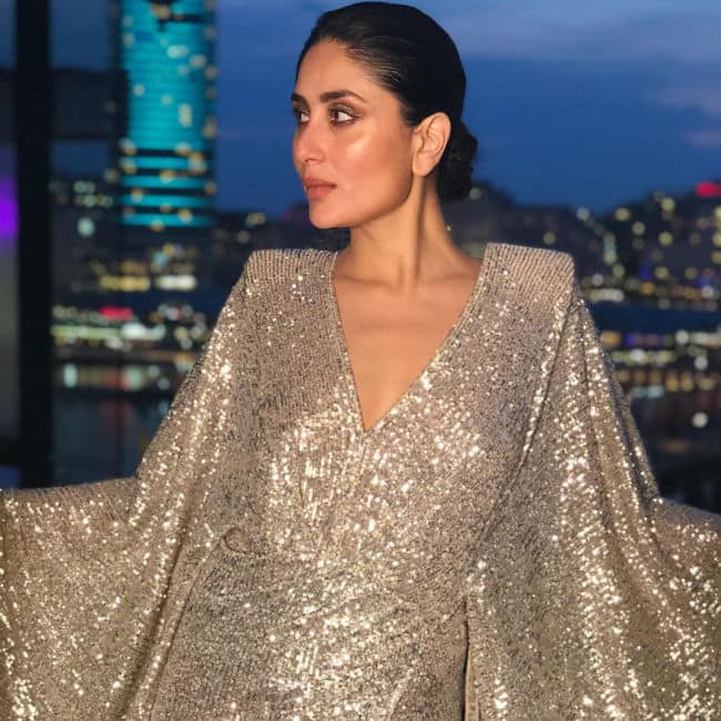 Kareena Kapoor Dazzling Look in Shimmery Silver Backless Dress