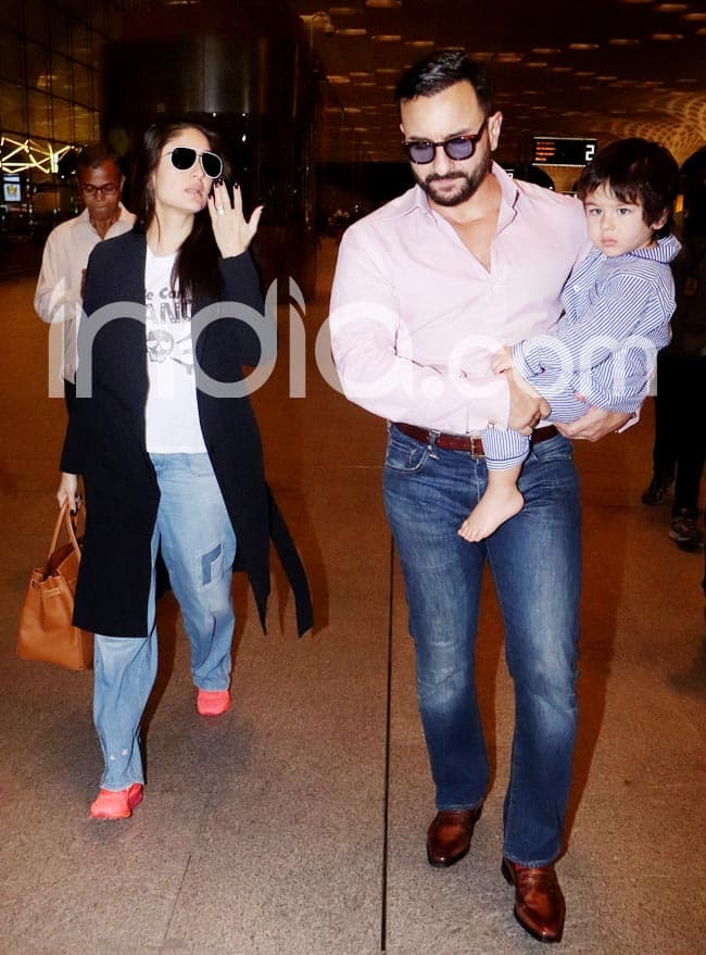 Kareena Kapoor Khan And Saif Ali Khan Along With Their Little Munchkin Taimur Ali Khan Leaves For London