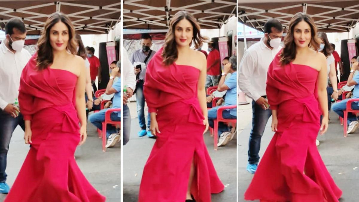 Kareena Kapoor Khan made her presence felt on the film sets in a hot red off shoulder gown