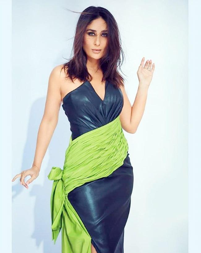 Kareena Kapoor Khan oozes oomph in a black   green leather dress
