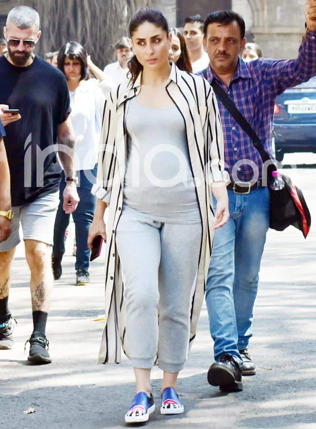 Kareena Kapoor Khan Pregnant  New Photos Show Actress Flaunting Baby Bump on Sets of Good News